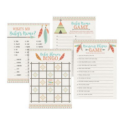 Lillian Rose Set of 4 Boho Baby Shower Games