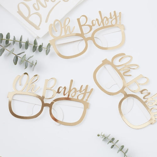Ginger Ray Gold foiled oh baby! Fun glasses Pack of 8