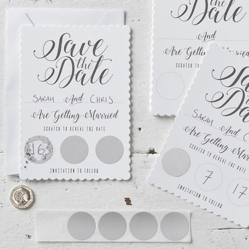 Ginger Ray White Scratch & Reveal Save the Date Wedding Invitations Pack of 10