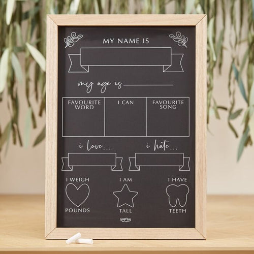 Ginger Ray Baby Milestone Chalkboard Sign