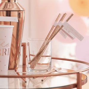 Ginger Ray Rose Gold Team Bride Flag Hen Party Straws
