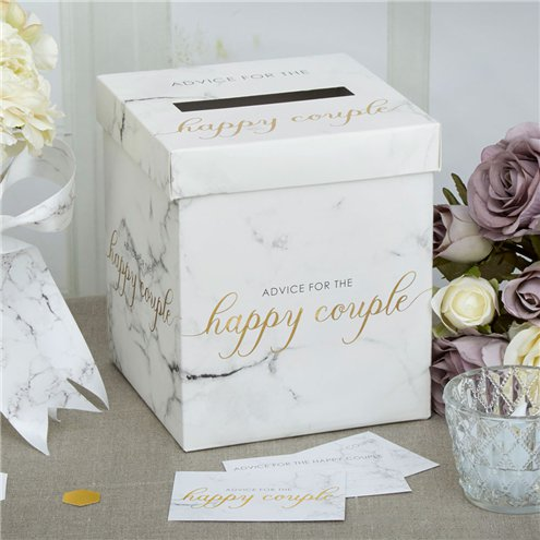 Scripted Marble Wedding Wishes Post Box