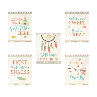 Lillian Rose Set of 5 Boho Baby Shower Decor Signs