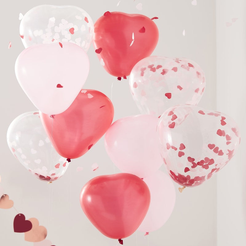 Pink, Red & Clear Confetti Heart Shaped Balloons
