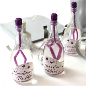 Purple Champagne Bottle Wedding Bubbles Pack of 24