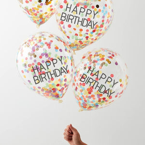 Ginger Ray Rainbow Happy Birthday Confetti Balloons