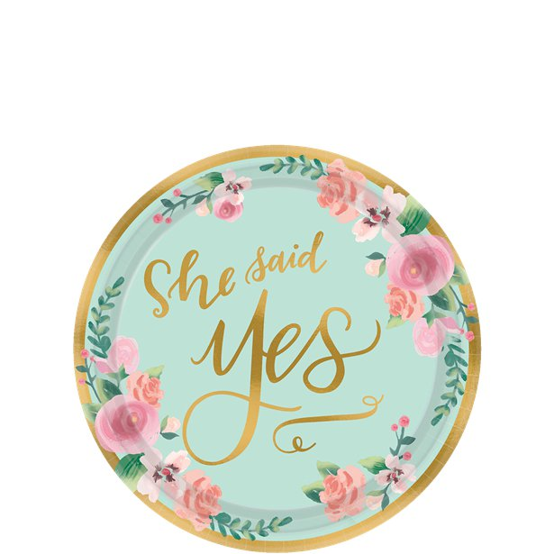 Mint to Be She Said Yes Paper Dessert Plates Pack of 8