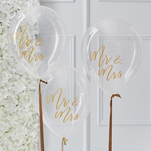 Ginger Ray Mr & Mrs Gold Balloons Pack of 5