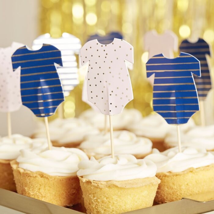 Ginger Ray Pink And Navy Babygrow Baby Shower Cupcake Toppers