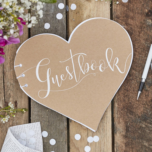 Ginger Ray Kraft Heart Wedding Guest Book