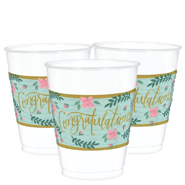 Mint to Be Congratulations Plastic Cups Pack of 25