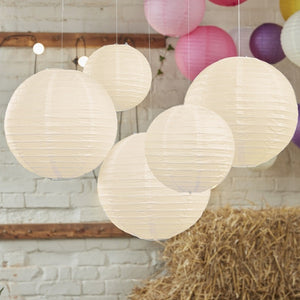 Ginger Ray Ivory Paper Lantern Decorations Pack of 5
