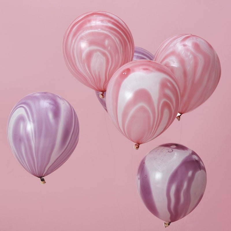Pink & Purple Marble Balloons Pack of 10