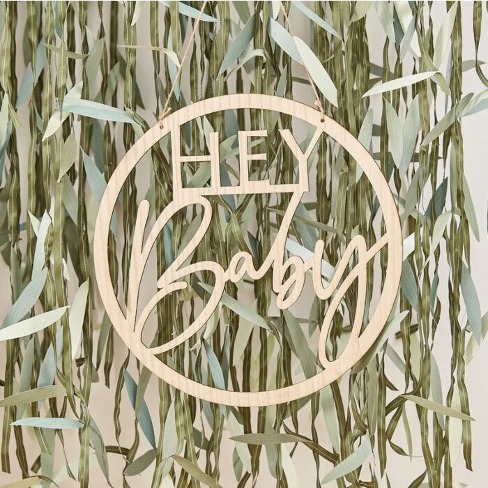 Ginger Ray Wooden Hey Baby Shower Sign
