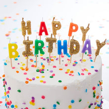 Load image into Gallery viewer, Rainbow & Gold Glitter Happy Birthday Candles