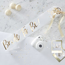 Load image into Gallery viewer, White & Gold Bride To Be Sash