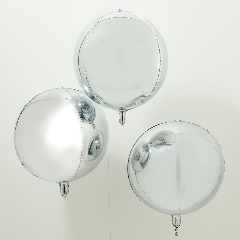 Ginger Ray Silver Orb Balloons Pack of 3