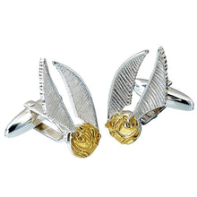 Load image into Gallery viewer, Harry Potter Silver Golden Snitch cufflinks