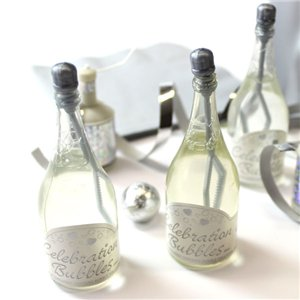 Silver Champagne Bottle Wedding Bubbles Pack of 24