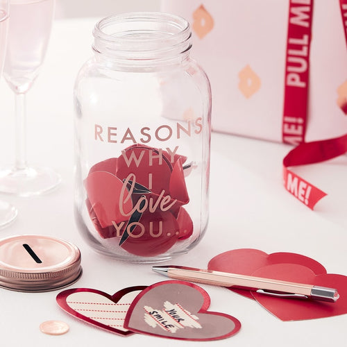 Ginger Ray Rose Gold 'Reasons Why I Love You' Jar with Scratch to Reveal Heart Cards