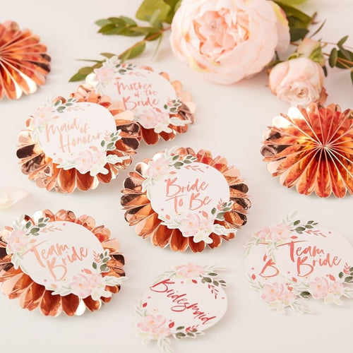 Ginger Ray Floral Team Bride Badges Pack of 6
