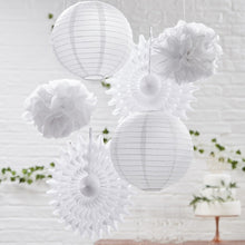 Load image into Gallery viewer, White Hanging Decorations Pack of 6