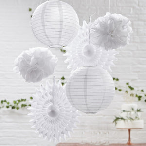 White Hanging Decorations Pack of 6