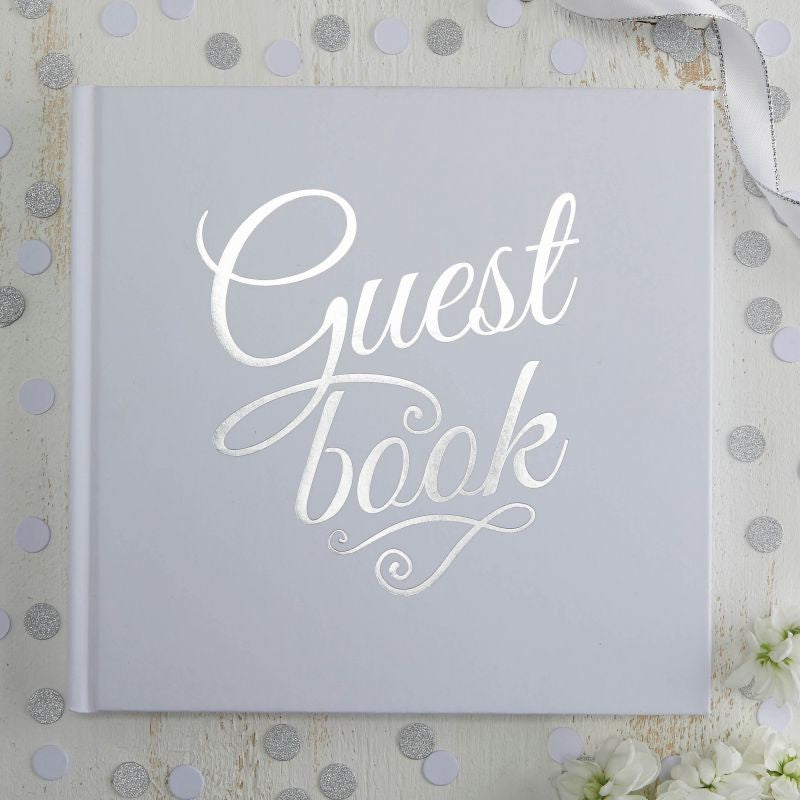 Ginger Ray White & Silver Foiled Wedding Guest Book