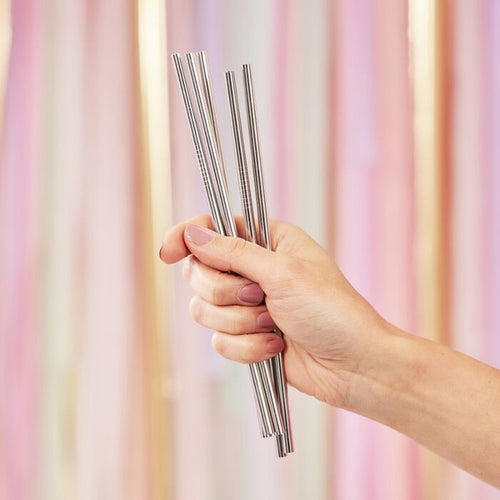 Ginger Ray Silver Stainless Steel Straws
