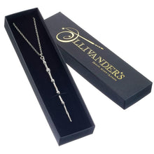 Load image into Gallery viewer, Harry Potter Professor Dumbledore Sterling Silver Wand Necklace in Gift Box