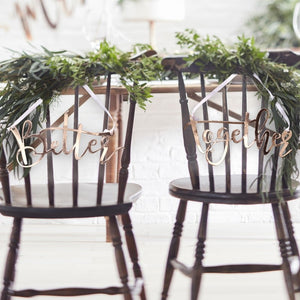 Ginger Ray Rose Gold Better Together Chair Signs