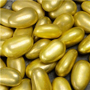 Gold Metallic Sugared Almonds Box of 250