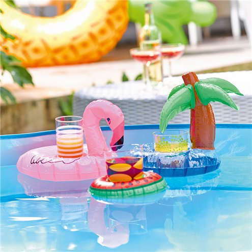 Inflatable Drink Holders -Flamingo, Watermelon & Palm Tree