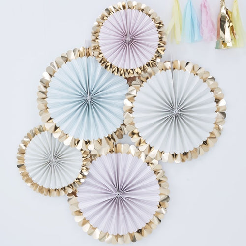 Ginger Ray Gold Foiled Pastel Fan Decorations Pack of 5