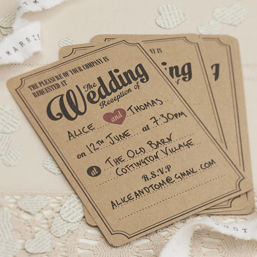 Ginger Ray Kraft Wedding Evening Cards Pack of 10