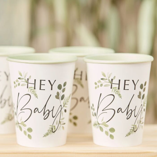 Ginger Ray Botanical Hey Baby Shower Plates Botanical Hey Baby Shower Cups