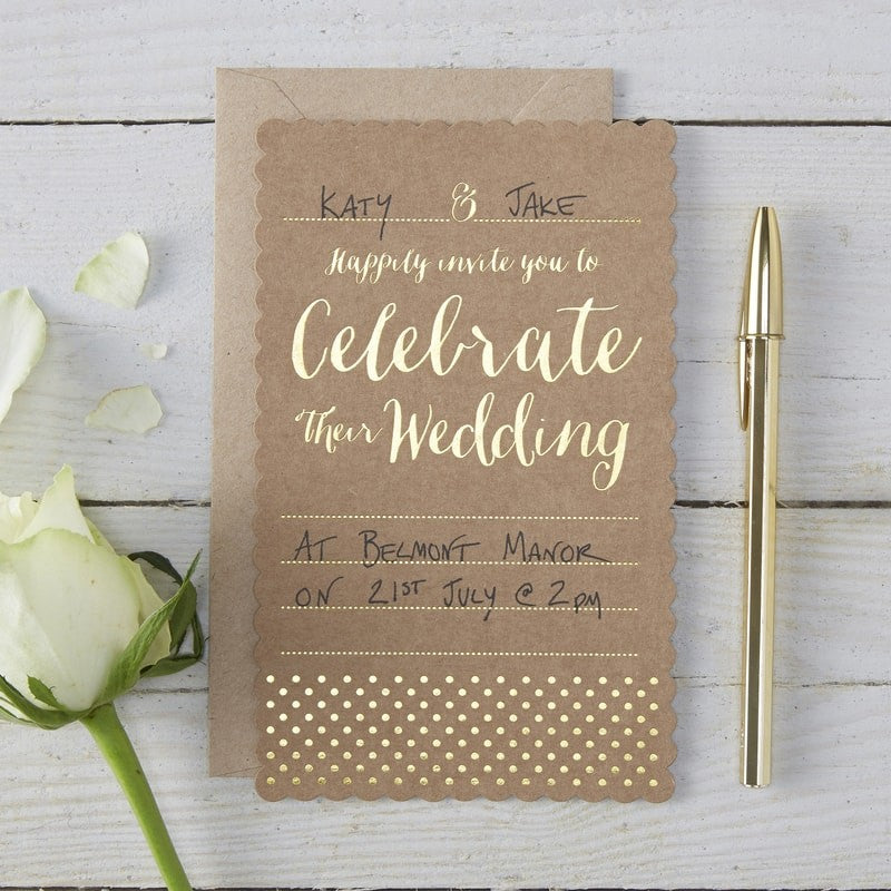 Ginger Ray Kraft Gold Foiled Wedding Invitations Pack of 10