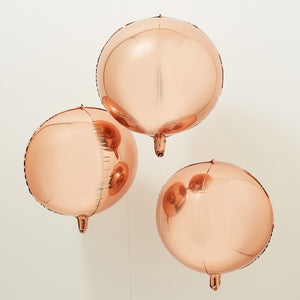 Ginger Ray Rose Gold Orb Balloons Pack of 3