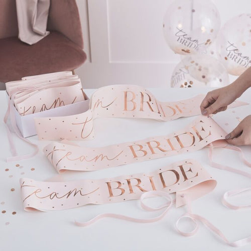 Ginger Ray Pink And Rose Gold Team Bride Hen Party Sashes 6 Pack