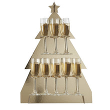 Load image into Gallery viewer, Ginger Ray Christmas Tree Shaped Gold Prosecco Drinks Wall Holder