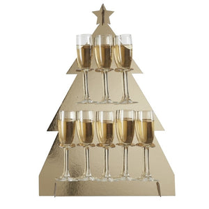 Ginger Ray Christmas Tree Shaped Gold Prosecco Drinks Wall Holder