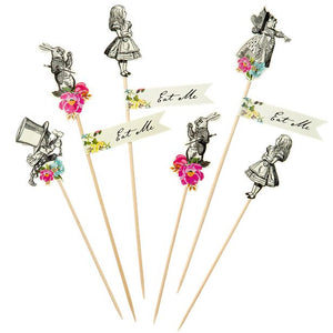 Truly Alice in Wonderland Mad Party Picks Set of 12