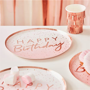 Happy Birthday Rose Gold Paper Plates