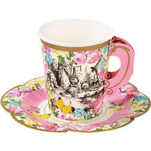 Load image into Gallery viewer, Truly Alice in Wonderland Pink Theme Paper Cups & Saucers Pack of 12
