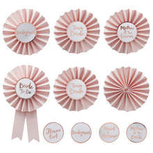 Load image into Gallery viewer, Pink & Rose Gold Hen Party Badges Pack of 6