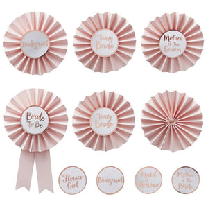 Pink & Rose Gold Hen Party Badges Pack of 6