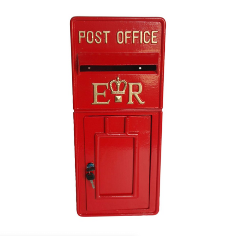 Red ER Metal Post Box