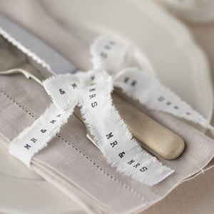 Ginger Ray Mr & Mrs White Frayed Ribbon