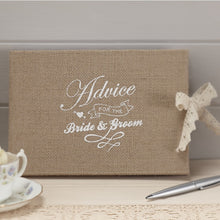 Load image into Gallery viewer, Ginger Ray 'Advice For The Bride & Groom' Hessian Burlap Book
