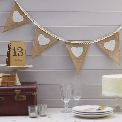 Ginger Ray Hessian Vintage Bunting with White Hearts and Lace